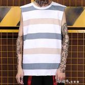 嘻哈街頭風潮牌男士坎肩無袖衫街舞搖滾說唱滑板寬鬆條紋汗背心