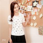 【INI FASHION】微美風格拼接蕾絲領針織上衣.三色