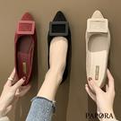 PAPORA百搭大方扣輕盈娃娃平底包鞋KQ118黑/米/紅