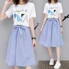 兩件套裝裙子夏季2019新款女潮學生韓版中長款洋裝學院風小清新