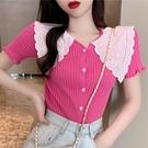 娃娃領上衣 娃娃領短袖針織衫女夏季新款韓版時尚百搭洋氣開衫短款上衣潮