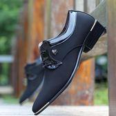 男鞋透氣休閒鞋網布面尖頭皮鞋英倫商務潮鞋韓版社會小伙鞋子 野外之家