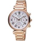 SEIKO精工LUKIA自信光彩太陽能腕錶 V175-0ET0K SSC834J1 白面x玫瑰金