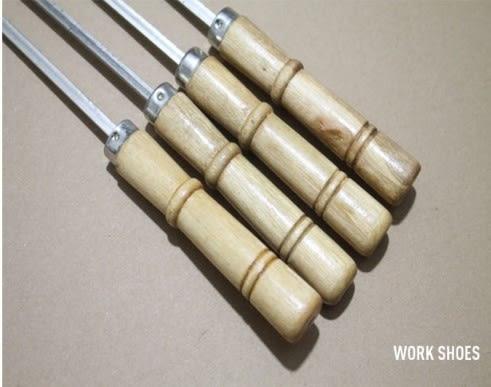 (協貿國際)精品不銹鋼燒烤針扁簽加粗木頭柄烤羊肉串簽子 10入