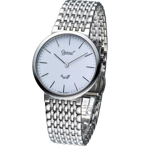 Ogival 愛其華薄型簡約紳士腕錶 385021M