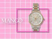 【時間道】MANGO休閒時尚兩眼仕女腕錶 / 銀白面半玫瑰金鋼帶 (MA6676L-80R)免運費