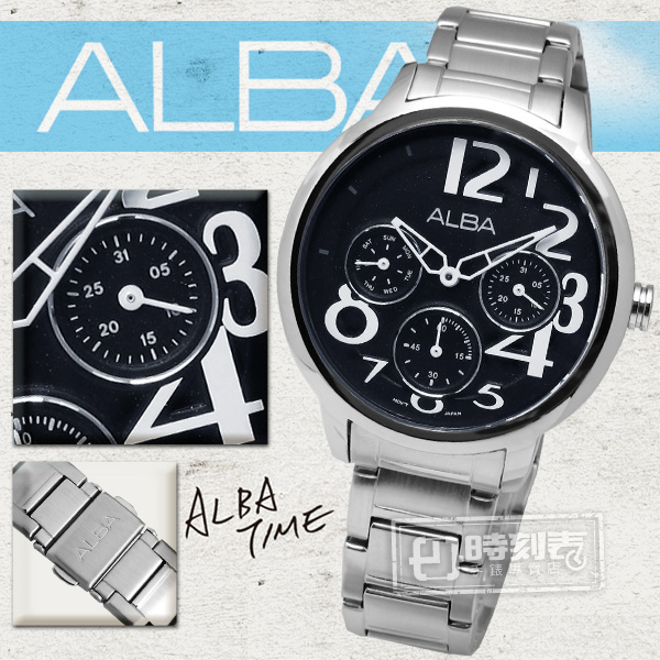 ALBA / VD75-X016D / 光采耀眼表現自我個性時尚不鏽鋼手錶 黑 36mm