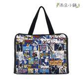 收納袋 包包 防水包 雨朵小舖 M235-343 小精靈收納袋-深藍美式漫畫兔兔13228 funbaobao