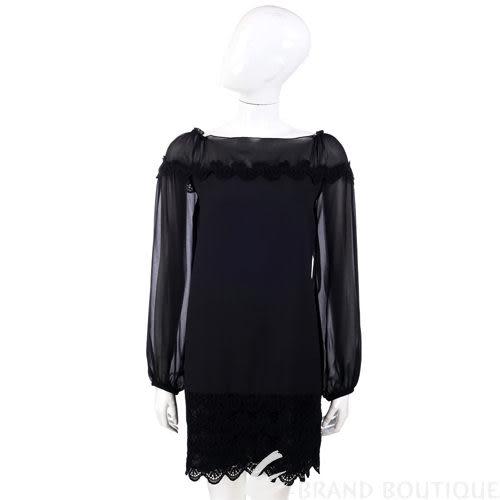 PHILOSOPHY 黑色異材質織花點綴長袖洋裝 1230442-01