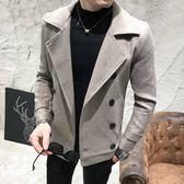 秋冬季毛呢外套男韓版潮流修身帥氣夾克翻領雙排扣短款呢子風衣男