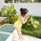 韓國兒童泳衣女童公主裙式女孩泳裝寶寶可愛小黃鴨連身游泳衣 polygirl