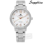 SE Sapphire / SE032L03WR / 甜心蝴蝶結圈藍寶石水晶不鏽鋼手錶 白色 31mm