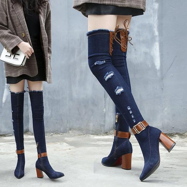 過膝靴 大長腿顯瘦女鞋 牛仔布女靴 春秋夏冬季過膝騎士靴 拉鏈長靴粗跟高跟