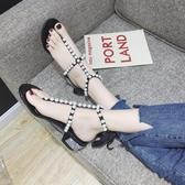 仙女風珍珠夾腳粗跟涼鞋 女2020年夏季新款中粗跟羅馬鞋系帶人字涼鞋女 JX606【衣好月圓】
