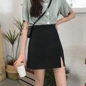 短裙 2020夏季新款韓版高腰顯瘦黑色短裙網紅百搭開叉包臀A字半身裙女