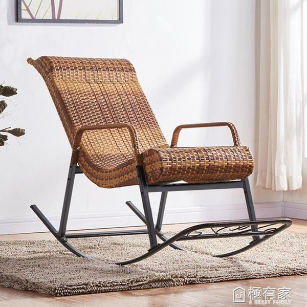 搖椅家用成人午睡椅老人搖搖椅戶外躺椅陽臺藤椅現代休閒逍遙椅子 ATF 極有家