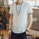 唐裝 中國風男裝 夏季薄款寬鬆民族風仿亞麻短袖T恤男 中式上衣唐裝休閒半袖 阿薩布魯
