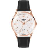 【台南 時代鐘錶 Henry London】英倫復古風潮 典雅品味腕錶 HL41-JS-0038 皮帶 玫瑰金 41mm