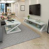 鋼化玻璃烤漆電視櫃茶幾組合客廳簡約現代小戶型迷你簡易電視機櫃igo「時尚彩虹屋」