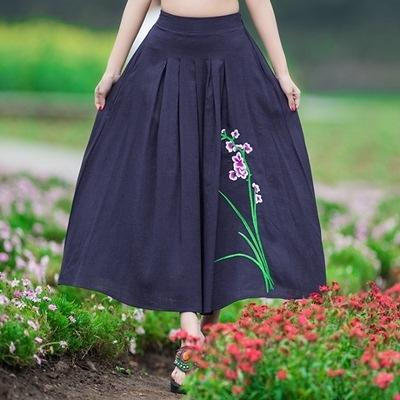 民族風中長裙-簡約優雅繡花復古女裙子73mo20[時尚巴黎]