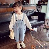女童牛仔背帶褲兒童韓版時髦愛心連體褲女孩長褲【淘夢屋】