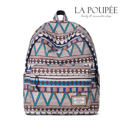 後背包 印地安民族風印花A4大容量書包-La Poupee樂芙比質感包飾 (預購+好禮)