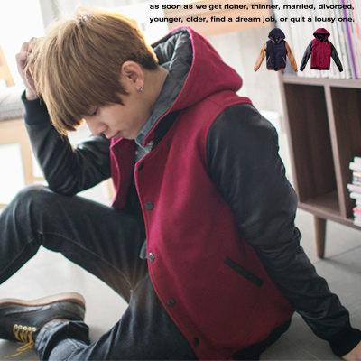柒零年代【N8365J】韓系潮男質感厚毛呢皮革接袖帽可拆連帽棒球外套(EZ9040)