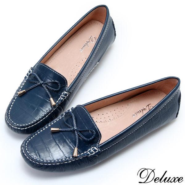 【Deluxe】全真皮仿鱷魚皮細蝴蝶結莫卡辛鞋(藍)