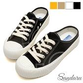 穆勒鞋 車線綁帶帆布鞋餅乾鞋-黑