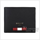 BALLY BEYVE鐵灰字LOGO紅白紅橡膠條紋防刮牛皮6卡對折短夾(黑)