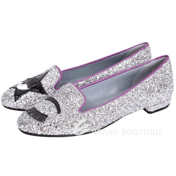 [ NG品 大放送 ]Chiara Ferragni Flirting 銀眨眼星星亮片樂福鞋 1690123-30