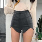 時尚女裝復古高腰彈力提臀熱褲側拉鏈顯瘦不規則牛仔褲短褲【繁星小鎮】