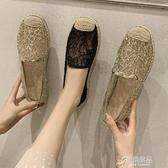 樂福鞋 網紅鞋子女超火單鞋夏季新款鏤空網紗漁夫鞋平底一腳蹬樂福鞋 原本良品