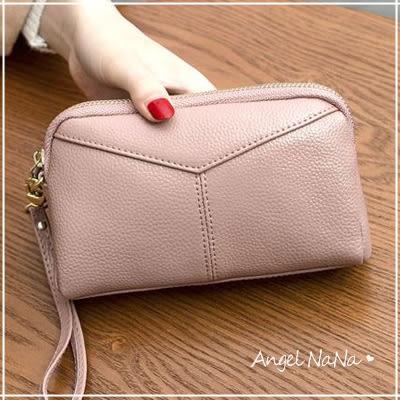真皮手拿包-牛皮女士長皮夾長夾-附手腕帶皮包錢夾零錢包手機包女包女夾 Angelnana (SMA0212)