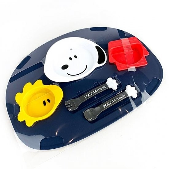 小禮堂 史努比 日製 六件式兒童餐具組 塑膠餐具組 環保餐具 餐具禮盒 (藍 大臉) 4904121-30712