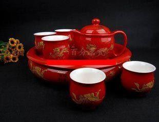 紅龍追鳳 大茶盤雙層杯
