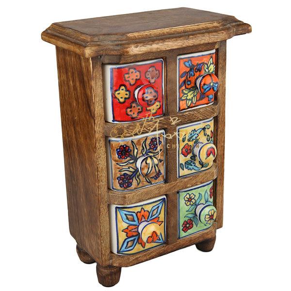 印度彩繪六格收納架/收納盒