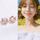 【NiNi Me】夾式耳環 氣質甜美花環...