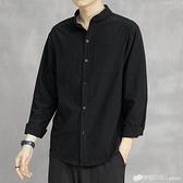 秋季新款純棉白色襯衫男士休閒寬鬆韓版潮流長袖襯衣黑色外套