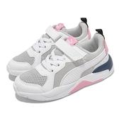 Puma 童鞋 X-Ray AC PS 白 粉紅 中童鞋 小朋友 復古 魔鬼氈 運動鞋 【ACS】 372921-16