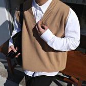 【春季上新】秋季新款男士V領針織馬甲背心港風學生帥氣寬鬆無袖毛衣潮流上衣