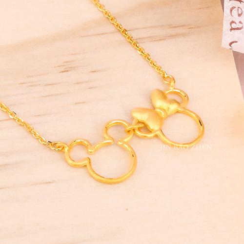 迪士尼系列金飾-黃金項鍊-相依偎