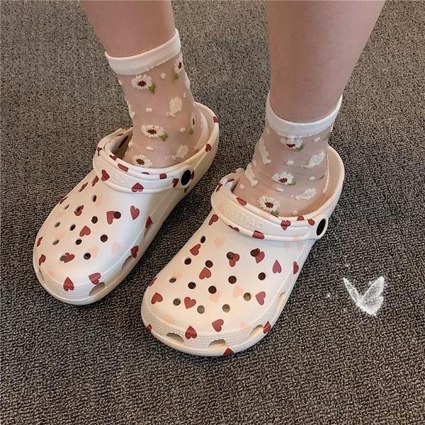 細細條 洞洞鞋女ins潮網紅個性時尚包頭拖鞋夏厚底外穿花園沙灘鞋 韓國時尚週