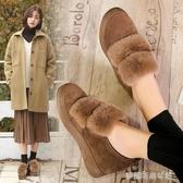 豆豆鞋 毛毛鞋女秋冬季新款棉鞋內增高加絨厚底一腳蹬網紅高跟豆豆鞋 夢露時尚女裝