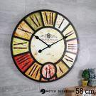 法式 紅酒 標籤 大型 時鐘 LOFT 復古流行 工業風 歐式 風格 木質立體靜音 掛鐘  時鐘-米鹿家居
