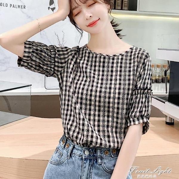 夏季設計感小眾甜美格子棉麻上衣女短袖時尚洋氣小衫寬鬆百搭襯衫 果果新品