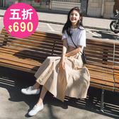 短袖洋裝 春韓系休閒顯瘦假兩件連身裙 花漾小姐【預購】