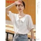 2020年夏季新款韓版仙氣娃娃領白色棉麻襯衫女設計感小眾V領上衣 果果新品