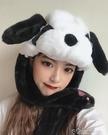 秋冬可愛卡通熊貓頭套耳朵會動毛絨護耳帽抖音網紅拍照道具 交換禮物 color shop
