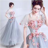 M-天使嫁衣 仙美公主袖 灰藍色新娘婚紗敬酒服晚宴年會演出禮服620